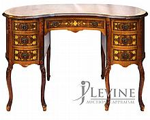 Seven Drawer Mahogany Floral Inlaid Desk