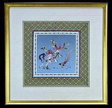 Framed Asian Silk Needlework