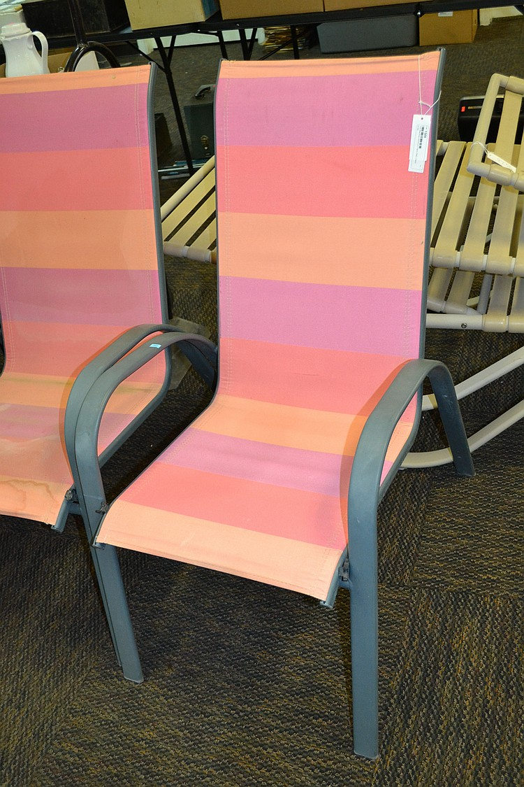 Two matching aluminum fabric patio chairs for Fabric for patio chairs