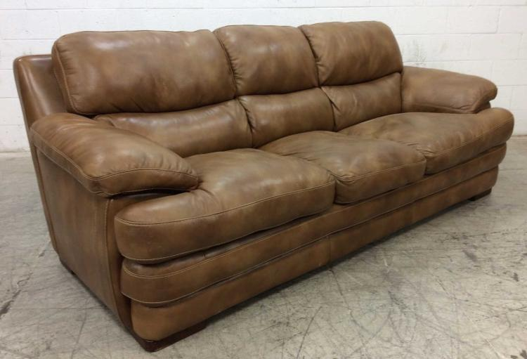 Brown Overstuffed Leather Sofa Couch