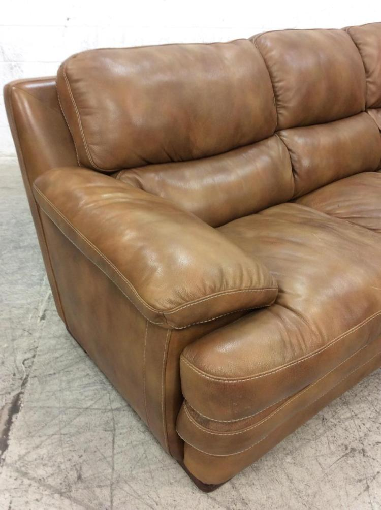 Brown Overstuffed Leather Sofa / Couch