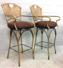 2Pc. Woven Cane & Metal Barstools
