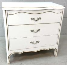 French Provincial 3 Drawer White Dresser