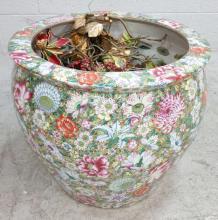 Floral Asian Koi Pot