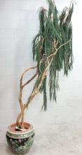 Asian Koi Pot Planter & Faux Tree