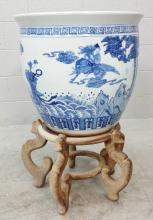 Asian Blue & White Glazed Planter