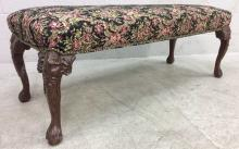 20th C. Elegant Carved Wood Claw Foot Bench