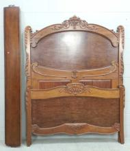 20th C. Ornate Carved Wood Queen Bed Set