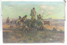 Elmer L. Boone Native Tribe in Transit Oil on Canvas