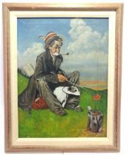 E. Crose, Hobo Weenie Roast Oil on Canvas