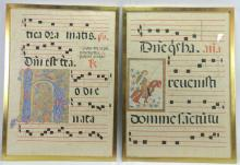 2Pc. 20th C Gregorian Manuscripts On Vellum