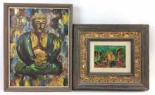 2Pc. Lois Rodis Meldia & G. Ro Oil on Canvas & Board