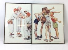 2Pc. Norman Rockwell Sports Print