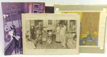 4Pc. 20th C. Illustrated Art Collectio Prints