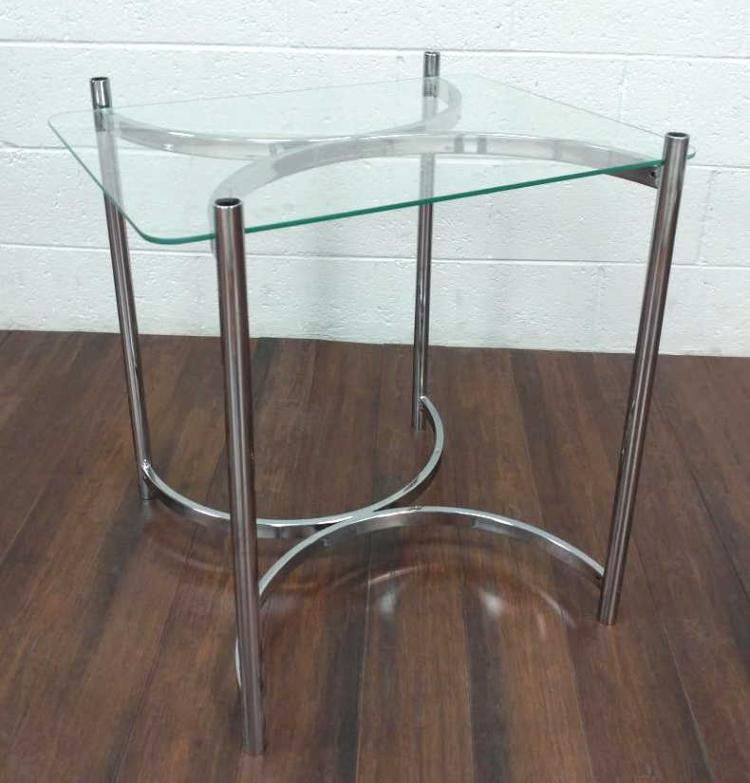 Chrome and Glass X-Leg Side Table
