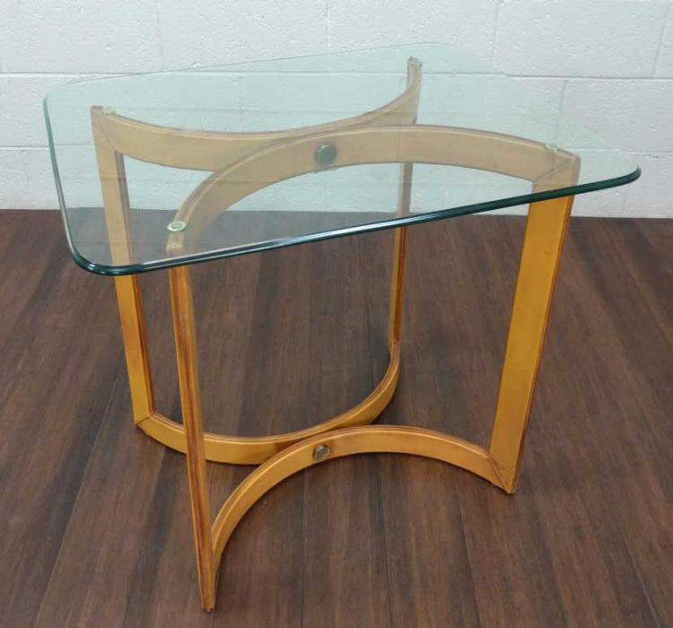 Vintage Leather Wrapped Glass Top Side Table