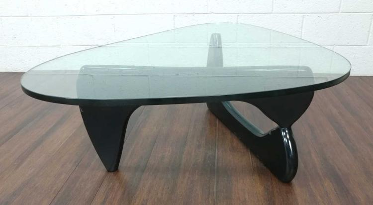 Isamu Noguchi Signed Glass & Wood Coffee Table