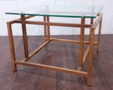 Glass Top Mid-Century Modern Accent Table