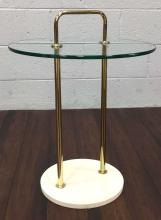 Mid-Century Modern Marble & Glass Top Side Table