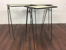 3Pc. Mid-Century Iron Stacking Tray Tables