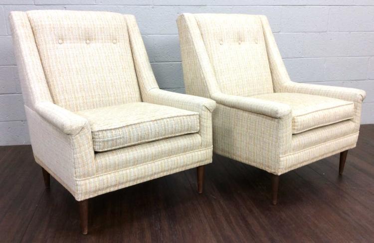 2pc. Mid-Century Modern Sleek Classic Club Chairs