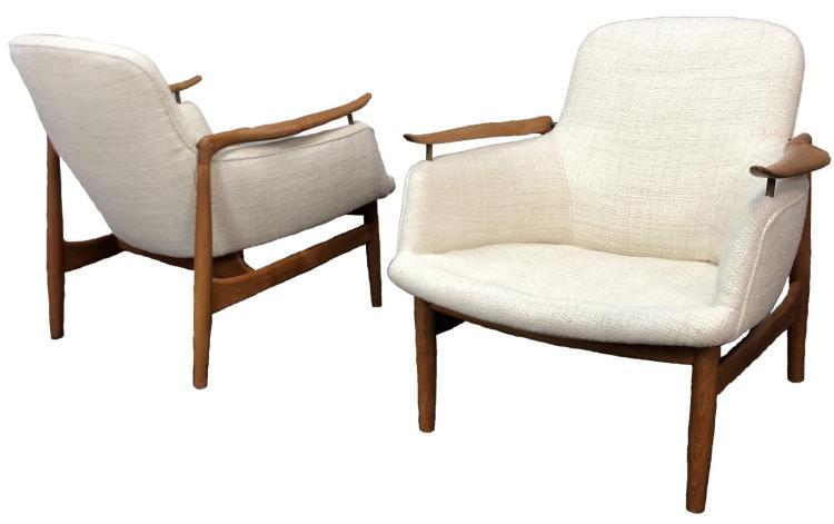 Pair of Finn Juhl NV 53 Lounge Chairs