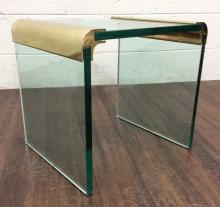 Leon Rosen Glass & Brass Side Table for the Pace C