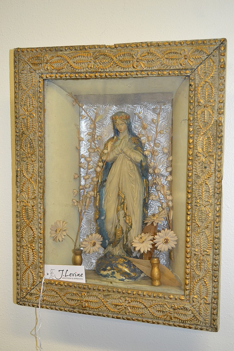Antique blessed virgin mary catholic wall hanging altar shri for Altar wall decoration