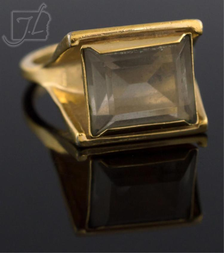 18k gold plated smoky quartz ring