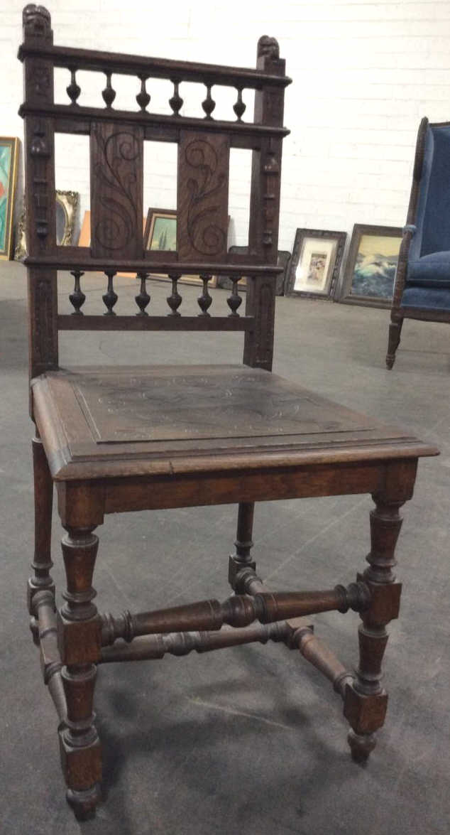 antique hand carved wooden chair