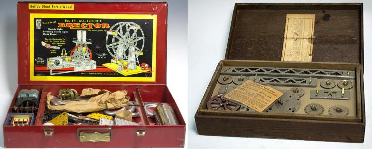 20th C. Erector Set Pair w/ Boxes