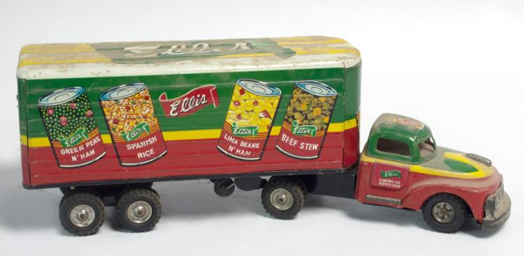 Tin Litho Friction Ellis Tractor Trailer Truck