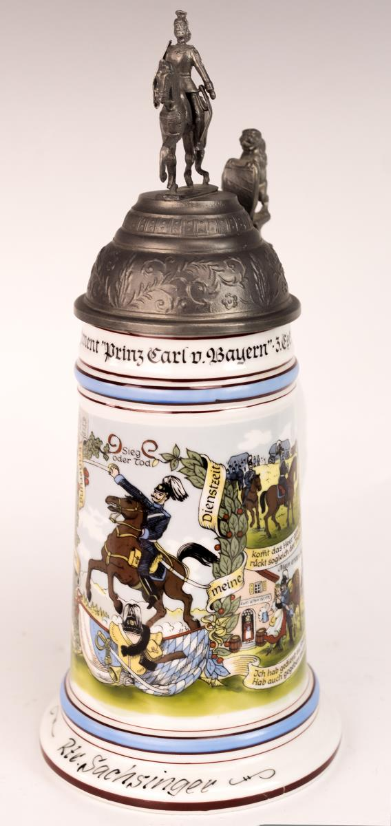 German Lithophane Regimental Beer Stein