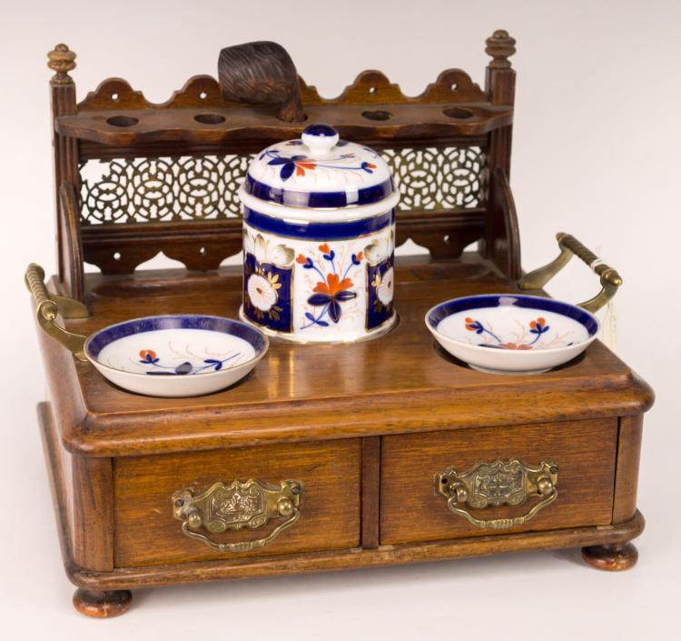 Smoking Set w/ Imari Porcelain & Pipe