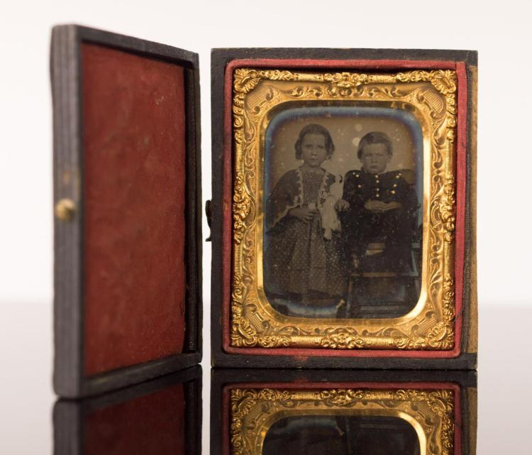 Civil War Photo Of 2 Children In Case