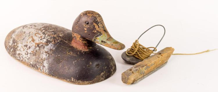 Vintage Wooden Duck Decoy w/ Glass Eyes