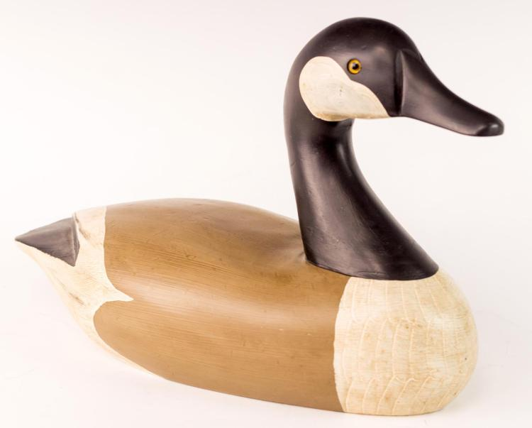 Signed Vintage Wooden Canada Goose Decoy