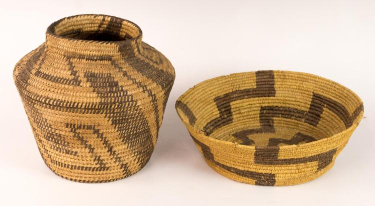 2Pc Papago Basket w/ Geometric Designs