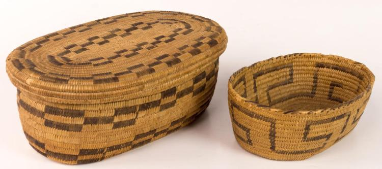 2Pc Pima Basket w/ Geometric Design Lot
