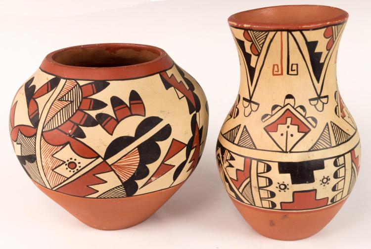 2Pc Signed Jemez Pueblo Pottery w/ Feather Design