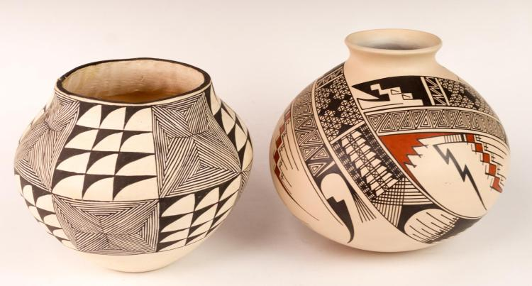 2Pc Acoma D. Patricio Pottery Lot
