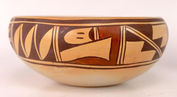 Hopi Olive Toney (20th C) Bowl w/ Geometric Design