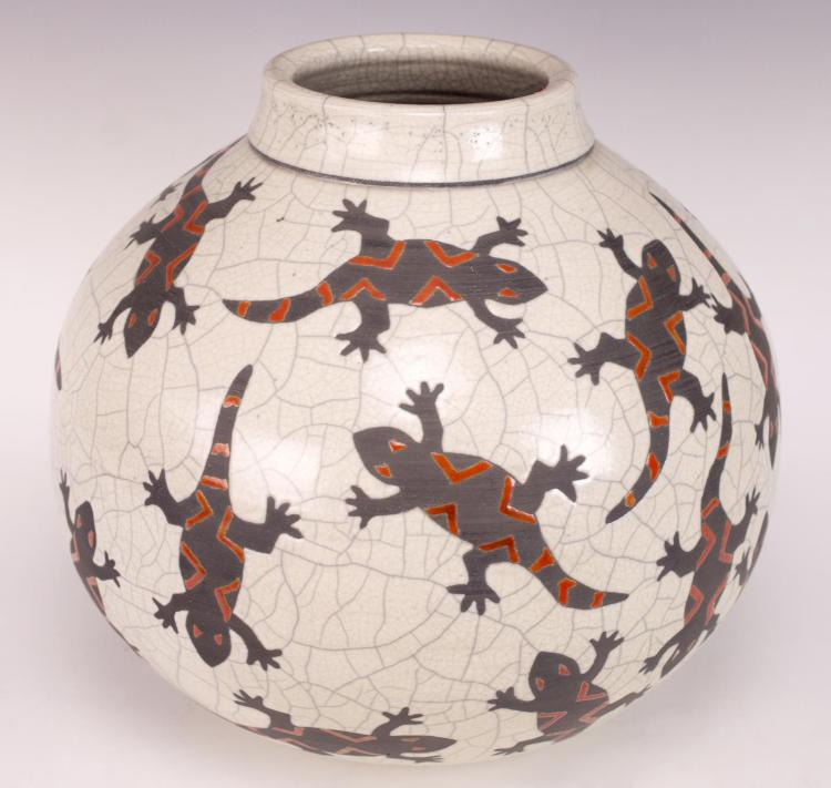 Signed Native American Pottery Jar w/ Lizards