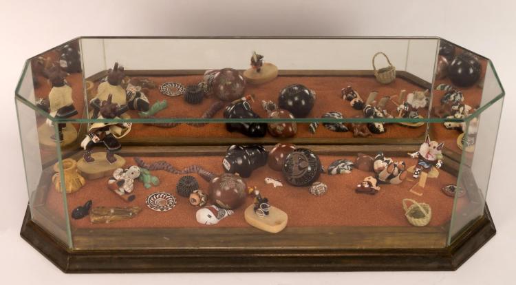 Southwestern Diorama w/ Kachina Dolls & Pots