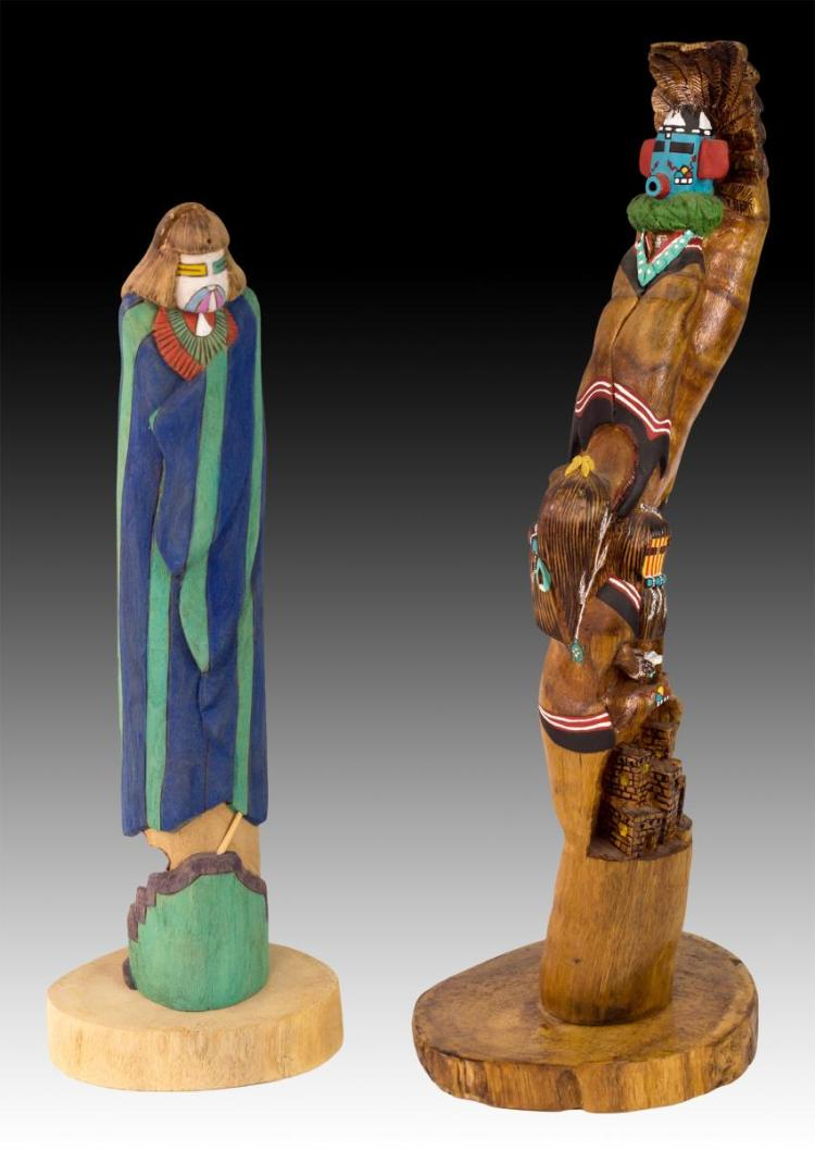 2Pc Signed Talavai & Shaklakimana Kachina Dolls