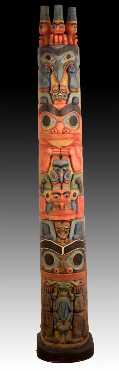 Large Native American Haida Totem Pole