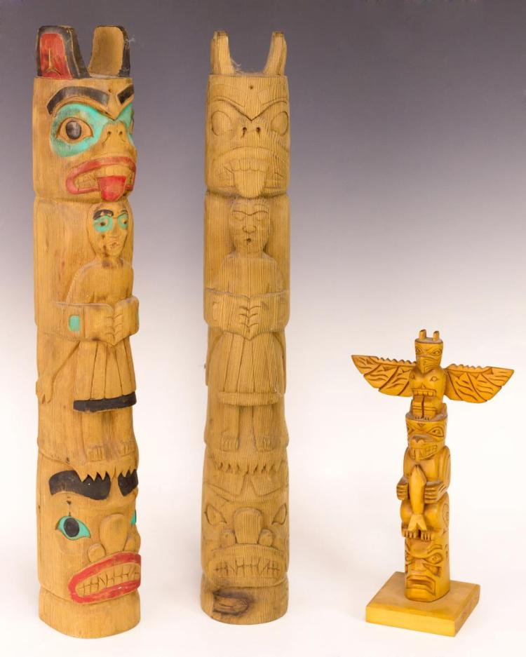 3Pc Signed Haida Model Totem Pole Lot