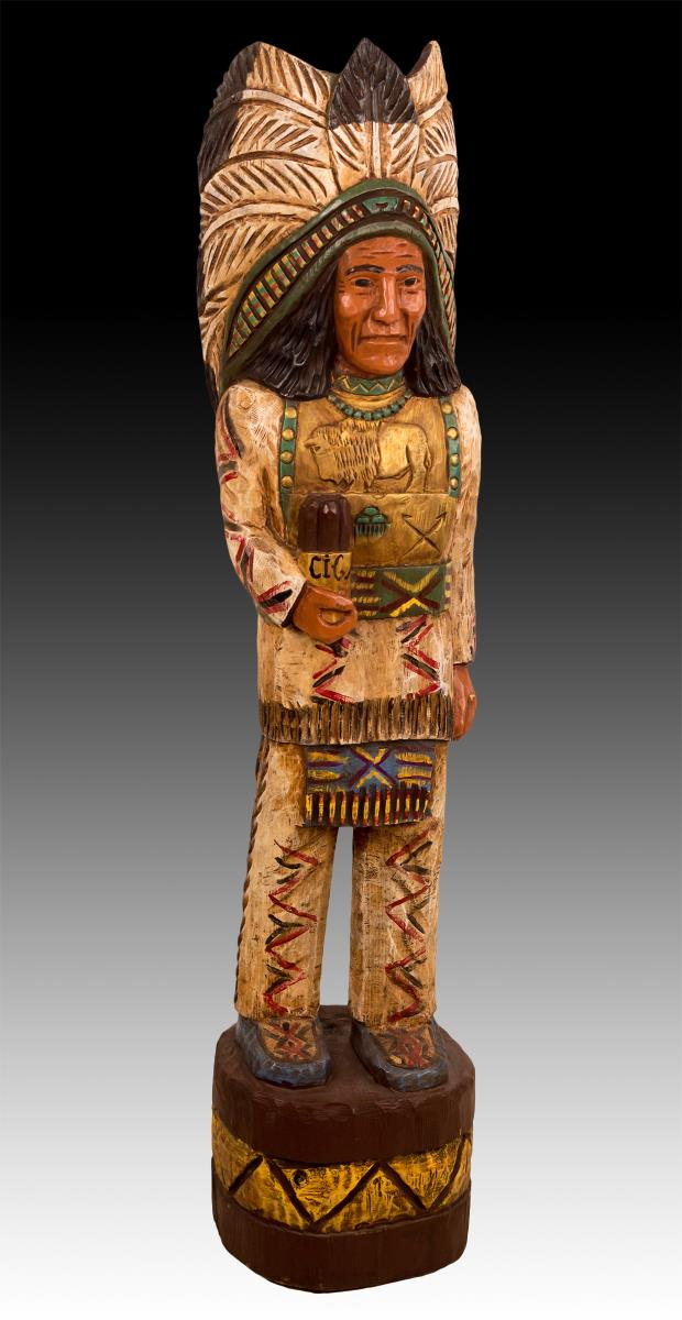 Signed J. Gallagher Carved Wood Cigar Store Indian