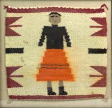 Native American Navajo Yei Framed Textile