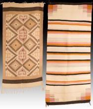2Pc Southwestern Style Hand Woven Wool Rugs